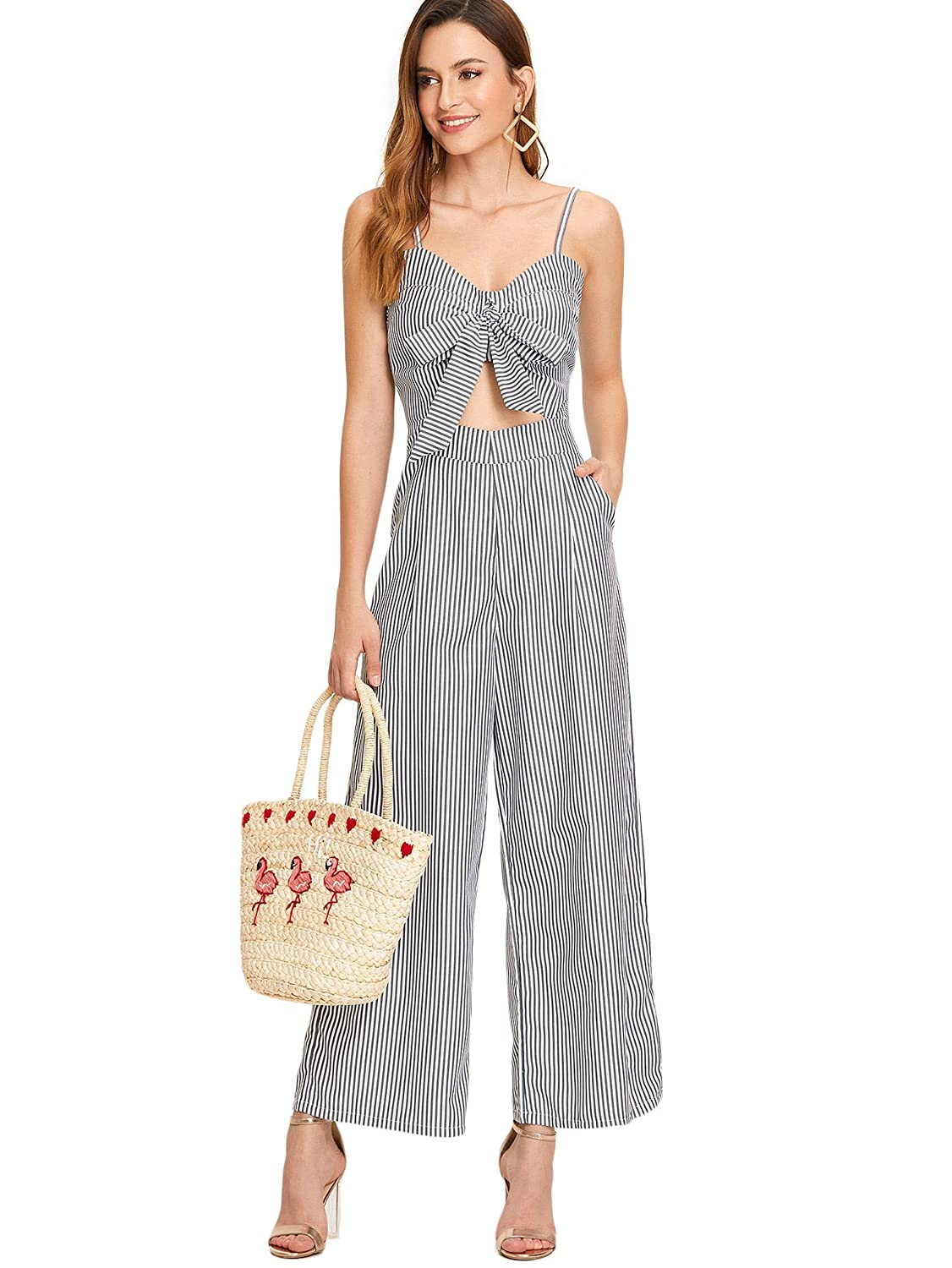 17f60ed7e71 Amazon.com  Floerns Women s Knot Front High Waist Wide Leg Striped Jumpsuit  Romper Grey XL  Clothing