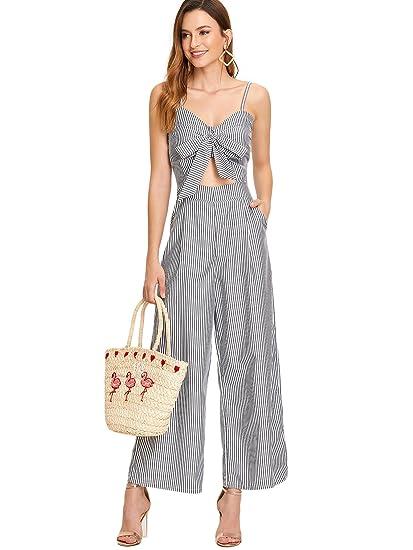 2246ad0e3dd Amazon.com  Floerns Women s Knot Front High Waist Wide Leg Striped Jumpsuit  Romper Grey XL  Clothing