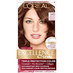 L'Oreal Paris Excellence Creme Permanent Hair Color, Medium Red Brown (3 Count)