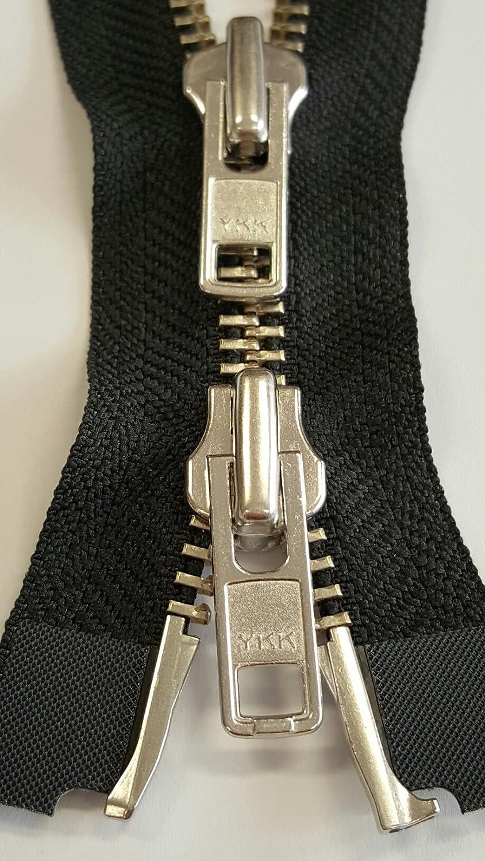 YKK Reißverschluss Motorrad Metall Nummer 8 Teilbar Robust 80 cm in Schwarz