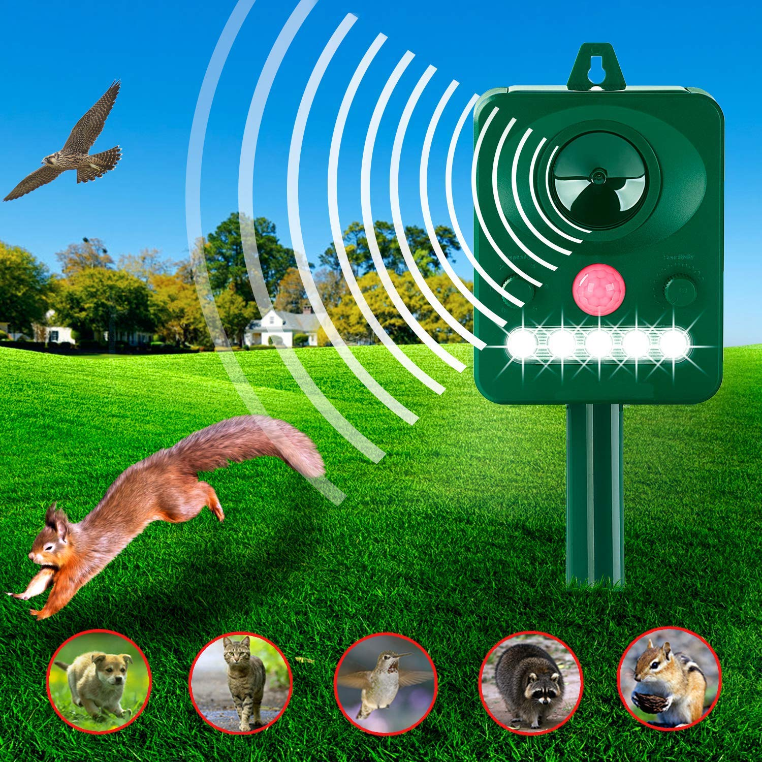 ZYYRSS Solar Animal Repeller, Solar Powered Repellent with Motion Sensor Ultrasonic and Red Flashing Lights Outdoor Waterproof Repellent for Skunks, Dogs, Foxes, Birds, Raccoons product image