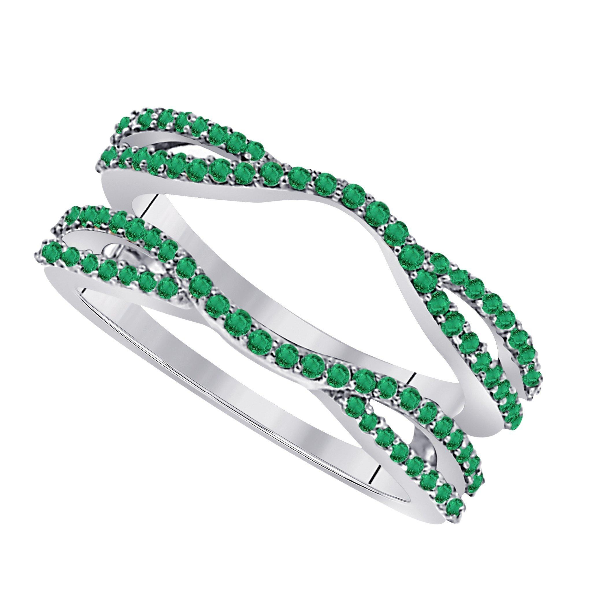 Star Retail 1/2 Ct 14K White Gold Finish Round Cut Lab Created Green Emerald Ladies Anniversary Wedding Band Enhancer Guard Double Chevron Ring