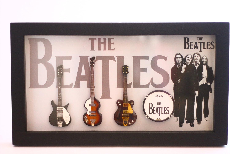RGM8836 John Lennon Beatles Miniature Guitar Collection in Shadowbox Frame