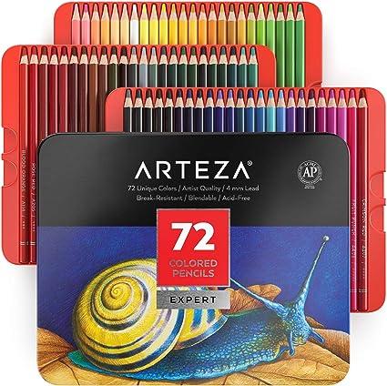 Arteza Estuche de lápices de colores para dibujo profesional | Caja de 72 unidades | Lápices de dibujo artístico | 72 colores numerados: Amazon.es: Oficina y papelería