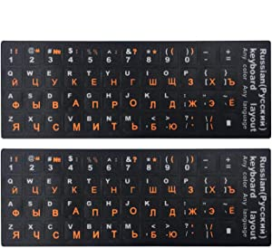 "[2PCS Pack] FORITO Russian Keyboard Stickers, Keyboard Replacement Sticker Black Background with Orange Lettering for Computer Keyboard, Each Unit Size: (Width) 0.43"" x (Height) 0.51"" (Matte)"