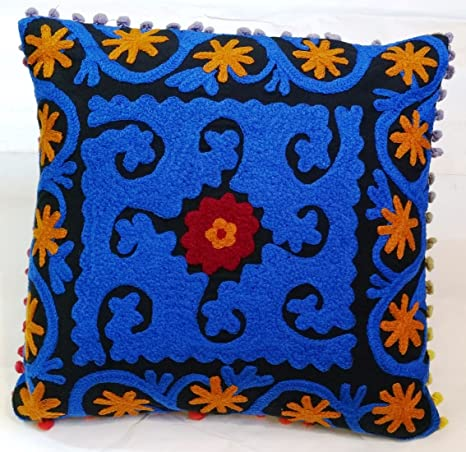 Amazon Com Traditional Jaipur Suzani Embroidered Cushion Cover 16x16 Decorative Throw Pillowcases Indian Outdoor Cushions Boho Pom Pom Pillow Shams Home Kitchen