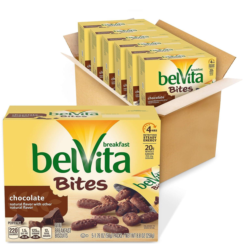 belVita Chocolate Mini Breakfast Biscuit Bites, 6 Box of 5 Packs (30 Total Packs)