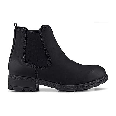 Cox Damen Chelsea Boots Klassische Stiefelette Booties Nubukleder Chelsea Stiefelette Ankle Boots Profilierte Laufsohle