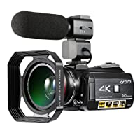 Camcorder 4K ORDRO 4K Ultra HD Wifi Digital Video Camera 30X Digital Zoom Night Vision Camcorder with Microphone Wide Angle Lens Lens Hood