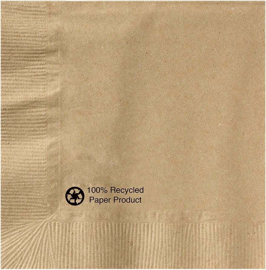 Hoffmaster 126378 Kraft Beverage Napkin, 1 Ply, 1/4 Fold, 10