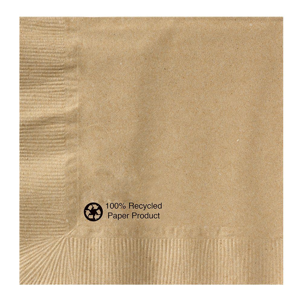 Hoffmaster 126378 Kraft Beverage Napkin, 1 Ply, 1/4 Fold, 10'' x 10'', Natural (Packs of 1000)
