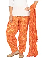 Rama Orange Color Ragular Fit Checks Print Full Patiala and Dupatta Set