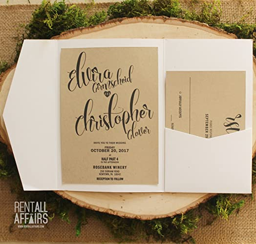 Amazon Com Kraft Paper Pocket Fold Wedding Invitation And Rsvp Card