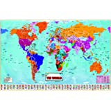 Laminated standard time zones world map poster size 15x225 inches large huge laminated world map poster wall chart latest ed new sealed 36x24 inches with country gumiabroncs Choice Image