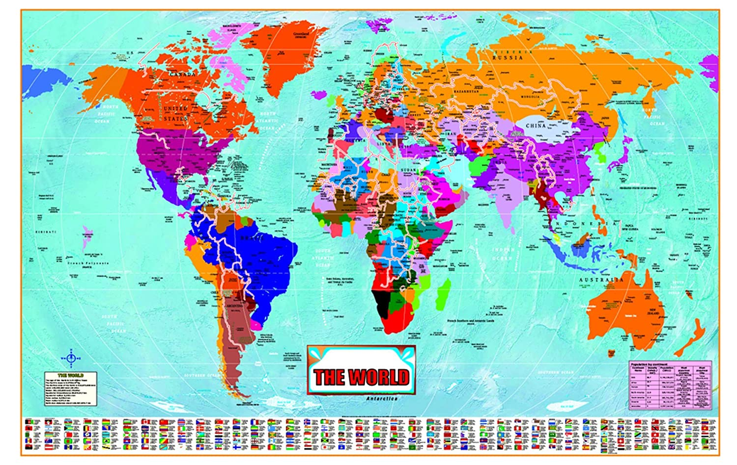 LARGE huge laminated WORLD MAP Poster Wall Chart Latest Ed New Sealed 36X24  inches with country flags