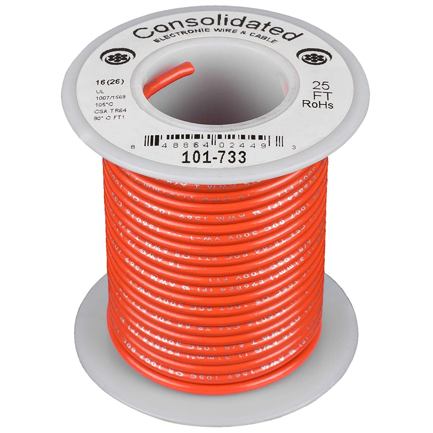 Orange UL Rated Consolidated Stranded 16 AWG Hook-Up Wire 25 ft