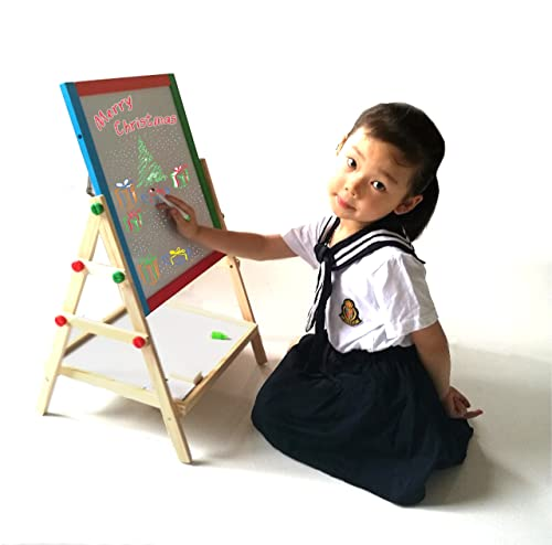 Yarmoshi My First Wooden Drawing Board Easel Double Sided Adjustable Chalk Blackboard And White Dry Erase Surface Magnetic Sponge Marker Pens Chalks And Bottom Tray Learning Play For Toddlers!