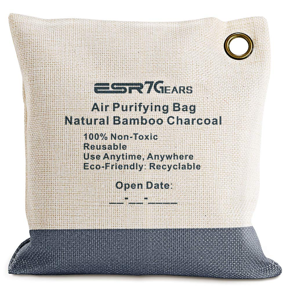 ESR7Gears Natural Bamboo Charcoal Air Purifying Bag - Eco-Friendly, Moisture Absorbent Deodorizer for Homes, Cars, Closets, Bathrooms and Pet Areas(210g Grey, One-Pack)