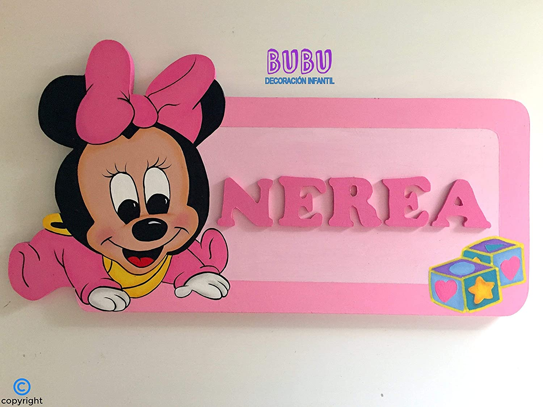 Placa infantil para puerta de Minnie bebé con nombre: Amazon ...