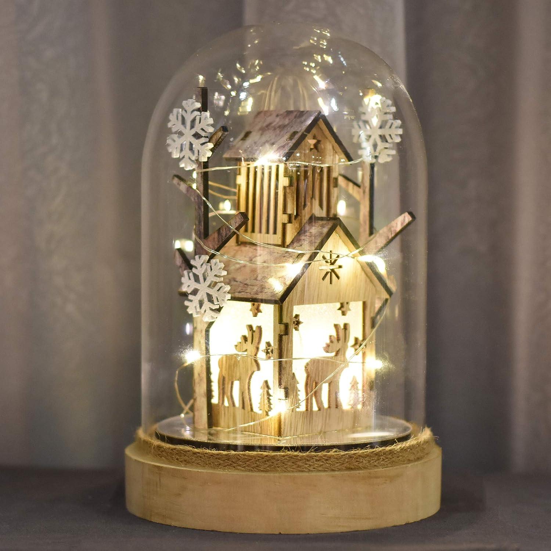 Valery Madelyn Lampada a Cupola in Vetro Natalizio Campana di Vetro a Pile Lampada da Batteria LED String Lights e Base in Legno 20cm Altezza per la Decorazione della tavola Decorazioni Natalizie
