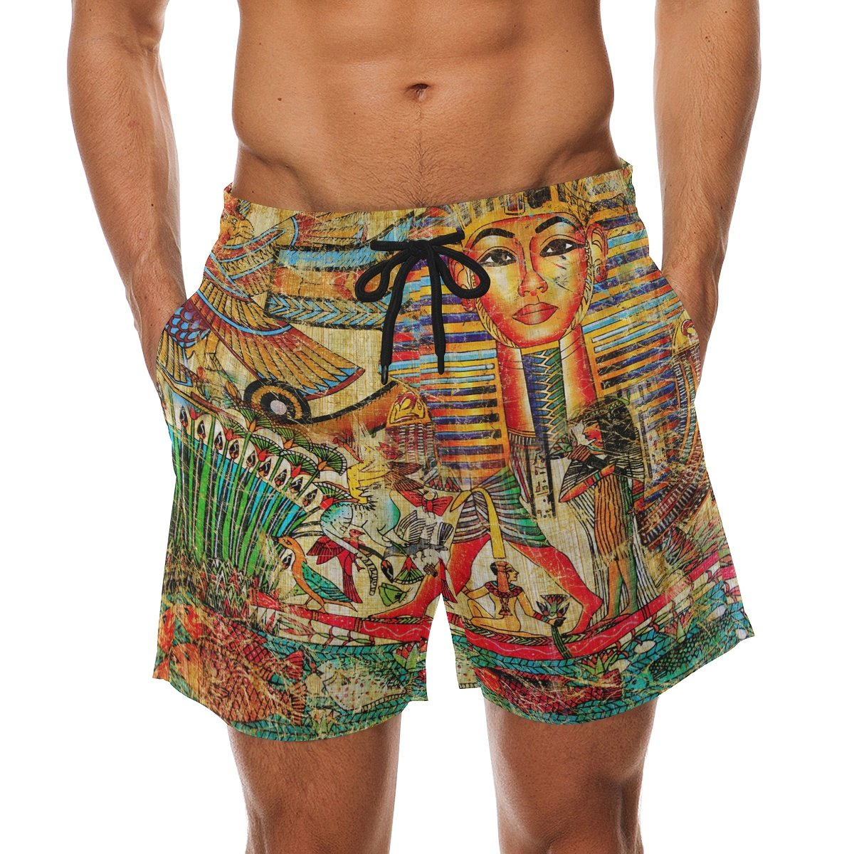 LORVIES Mens Vintage Egyptian Style Beach Board Shorts Quick Dry Swim Trunk