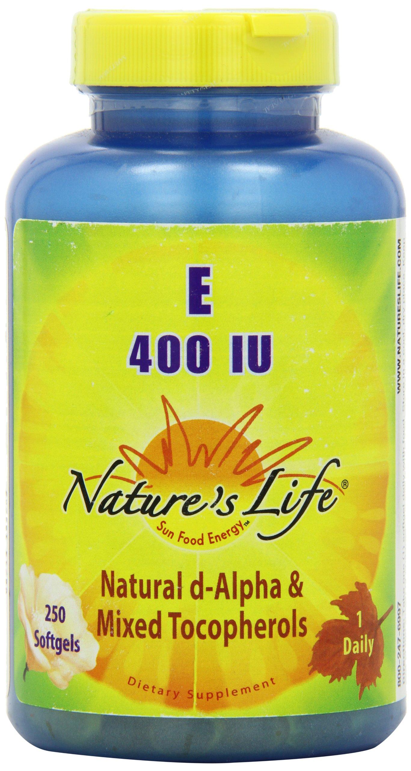 Nature's Life E, D-Alpha and Mixed Tocopherols 400 IU Softgels, 250 Count by Nature's Life