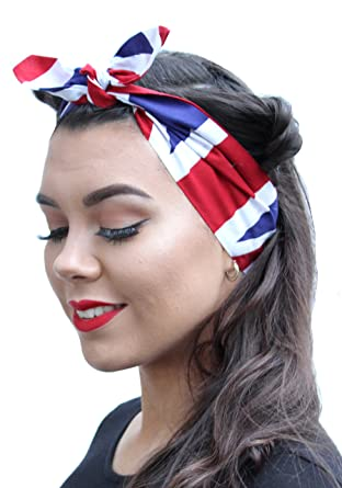 British Flag Land Girl Vintage 50s Style Pin Up Bow Head Scarf Bandana