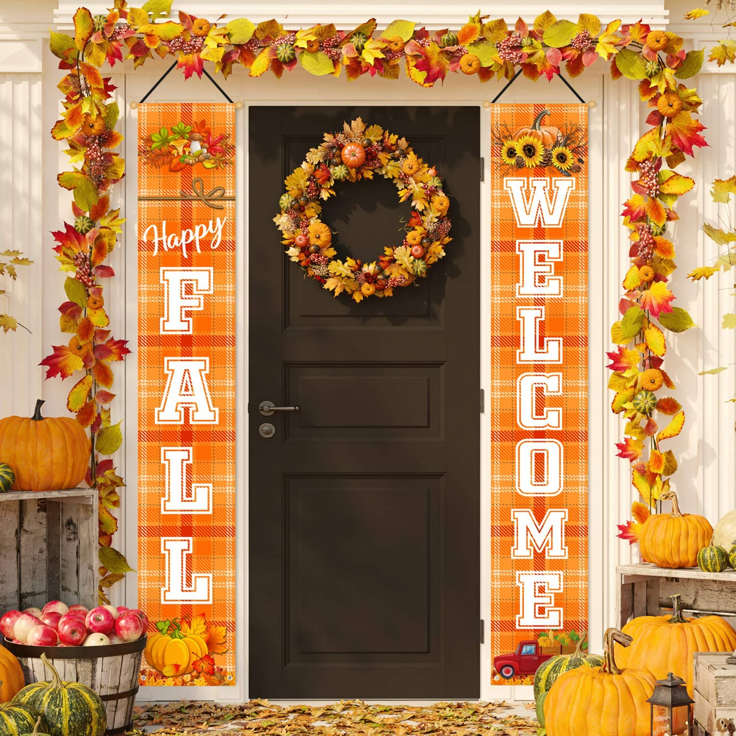 Whaline Fall Decoration Welcome Happy Fall Porch Sign Orange Plaid Sunflower Pumpkin Door Sign Rustic Autumn Hanging Banner for Indoor Outdoor Home Farmhouse Yard Harvest Thanksgiving Party Decor