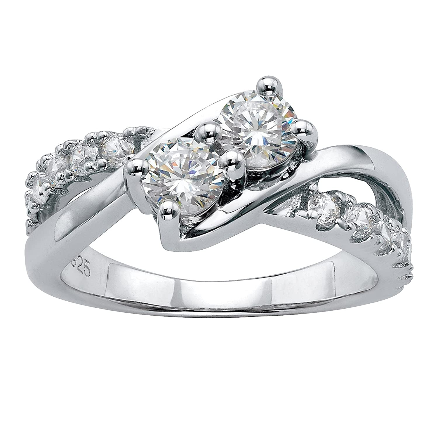 Amazon Platinum Over Sterling Silver Round Cubic Zirconia Crossover Promise Ring Jewelry: The Flash Inspired Wedding Ring At Websimilar.org