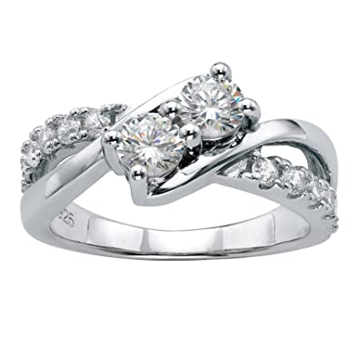 40700a4ed271f Platinum over Sterling Silver Round Cubic Zirconia Crossover Promise Ring