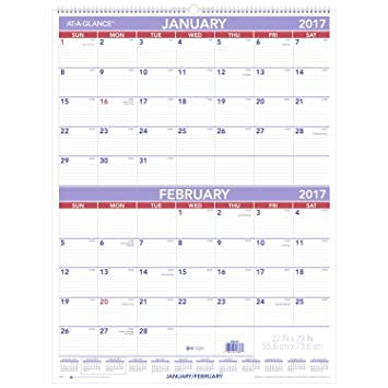 Amazon.com : AT-A-GLANCE Wall Calendar 2017, Two Month View, 22 x ...