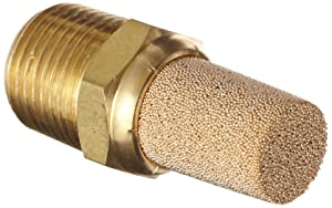 "Parker EM37-90 EM Series Sintered Bronze Muffler/Filter, 3/8"" NPT Male, 11/16"" Hex Size, 250 psi"