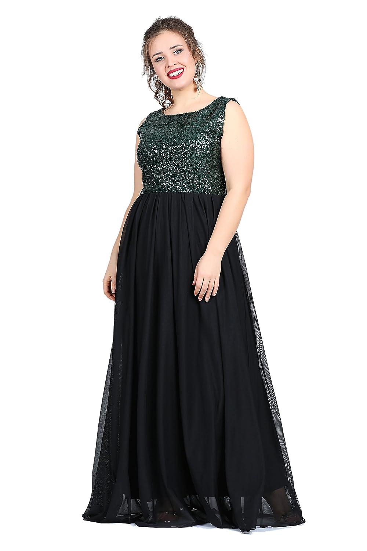 Damen Kleid Abendkleid auch Übergrößen, Paillettenkleid MAXI ...