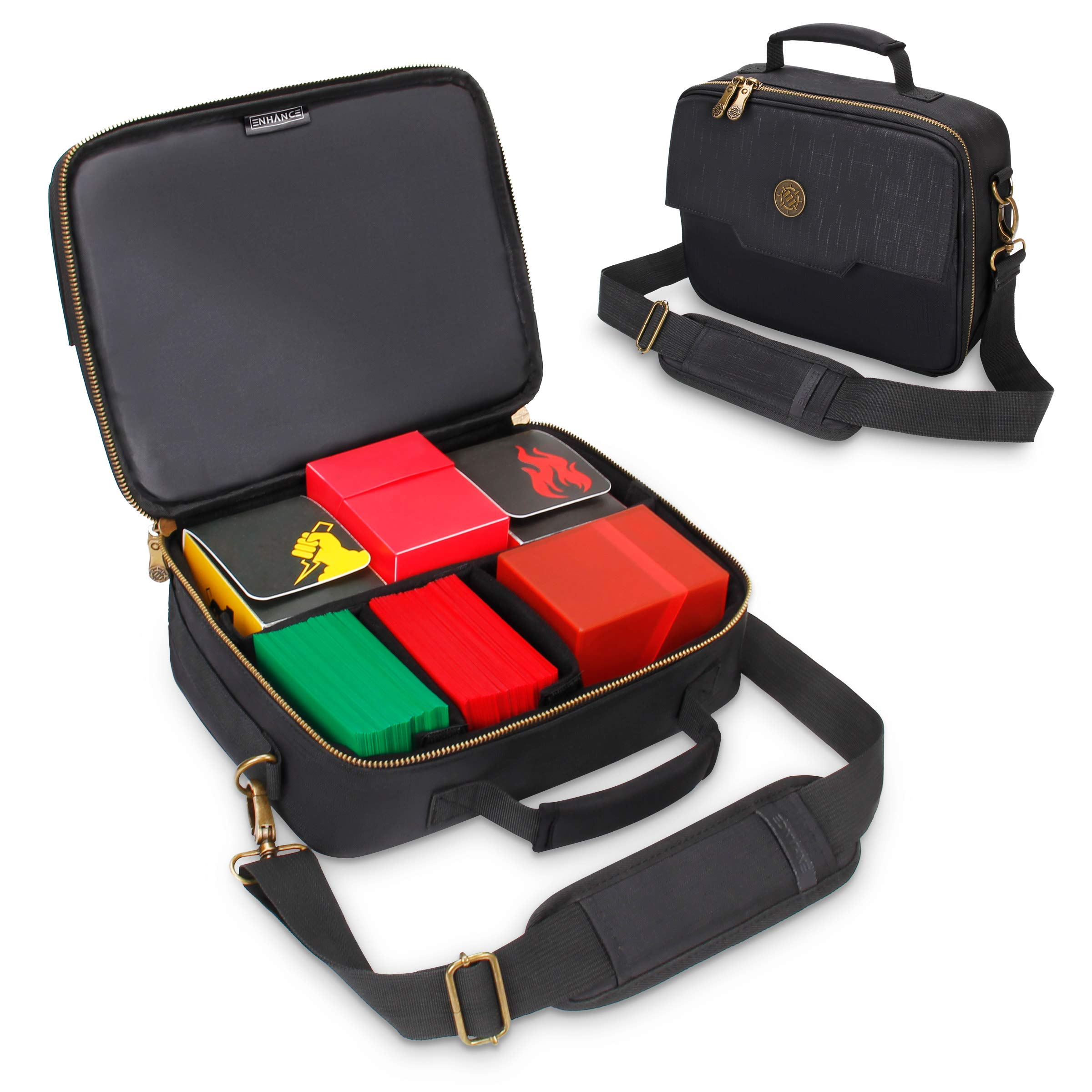 ENHANCE MTG Card Box Storage Case - Deck Holder Card Carrying Case Bag Compatible with Magic The Gathering, Pokemon, Cards Against Humanity - Pencil Loops, Pocket for Dice, Tokens