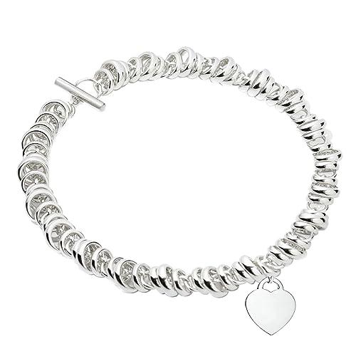 Fashionidea Jewellery , Bracciale rondelle argento 925 sterling cuore modello  tiffany chiusura T bar