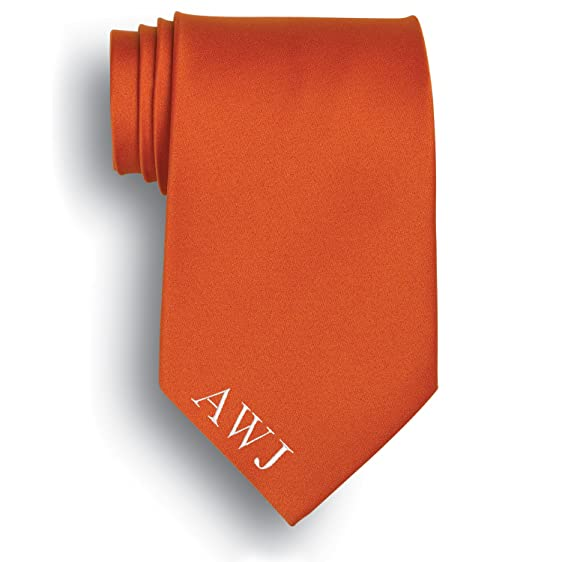 Personalized Orange Silk Tie with Embroidered Initials