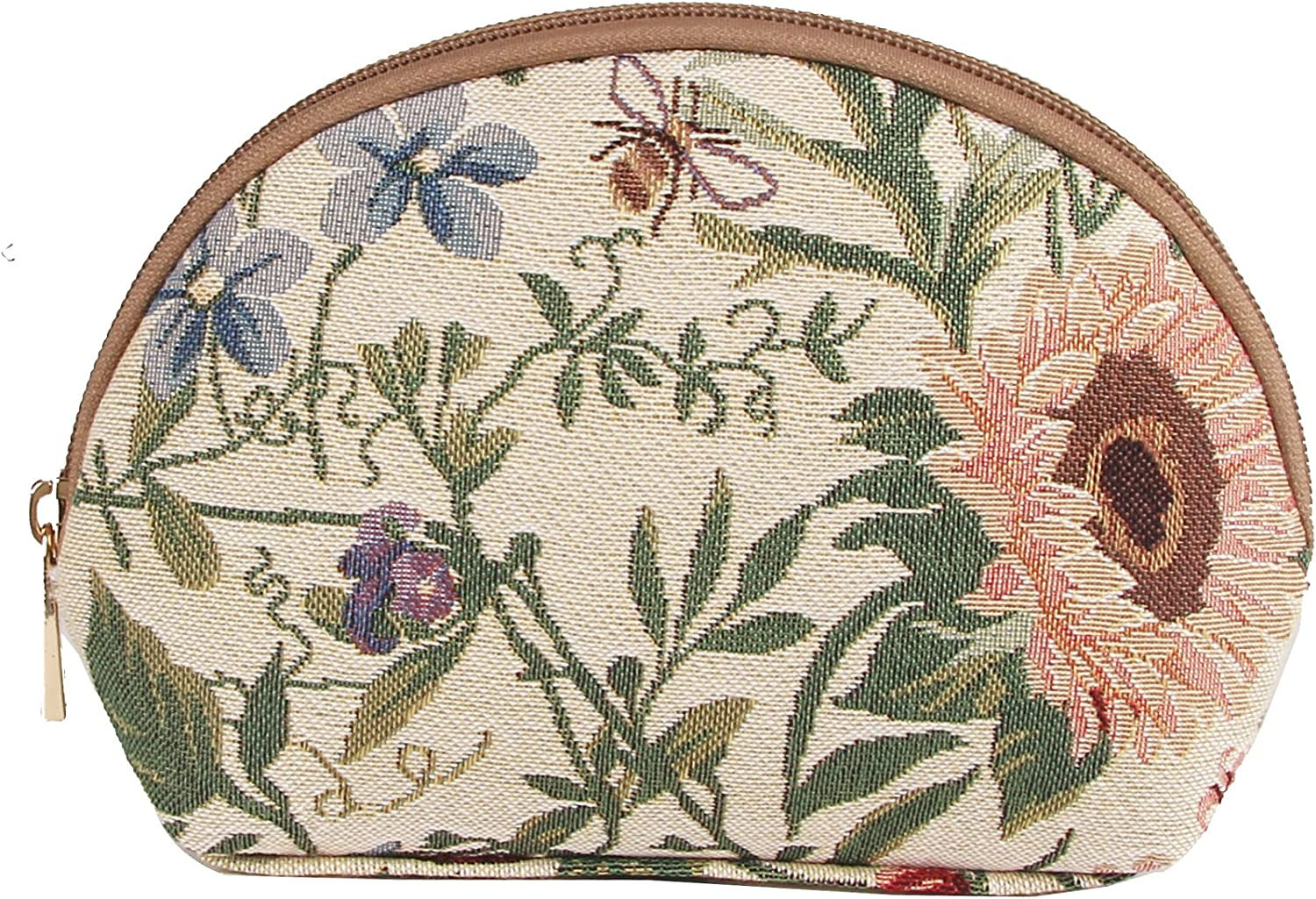 Signare Light Floral Tapestry Makeup Bag Travel Cosmetic Bag Brush Bag for Women Girls with Sunflower Poppy Butterfly Dragonfly (COSM-MGD)