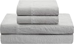 Prewashed Linen Style Crinkle Sheet Set - Extra Soft and Airy Feel For Lightweight and Breathable Bed Sheets for All Season Comfort - Deep pocket, Reinforced Elastic Corner Straps - Queen, Silver