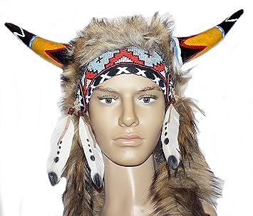 Hejoka Shop Indianer Kopfschmuck Unikat Hornerhaube Echter Horn Fur