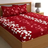 Dreamscape 100% Cotton Bedsheets for Double Bed with 2 Pillow Covers,TC Geometric Red Bedsheet (Double, Red Geometric5)