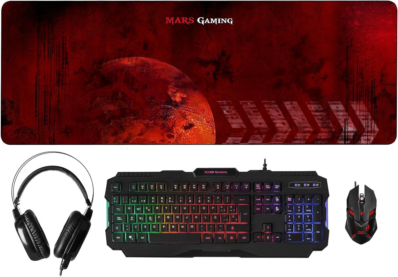 MARSGAMING MCPRGB, Pack Gaming RGB Teclado, Ratón, Auriculares y Alfombrilla
