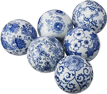 Oriental Furniture 3 Blue White Decorative Porcelain Ball Set B Amazon Co Uk Kitchen Home