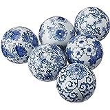 "Oriental Furniture 3"" Blue & White Decorative Porcelain Ball Set(B)"