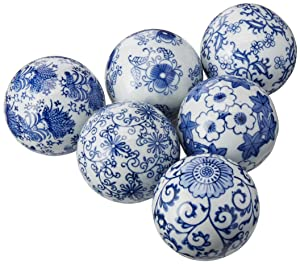 "Oriental Furniture 3"" Blue & White Decorative Porcelain Ball Set(B)"