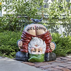 Welcome Sign Resin Garden Figures Figurines Naughty Dwarf Art Sculptures Decorations,Whimsical Statues Lawn Decor Ornaments for Patio Yard,Only Buttocks Garden Gnome Statue-Dwarf 15x13x11.5cm(6x5x4.5i