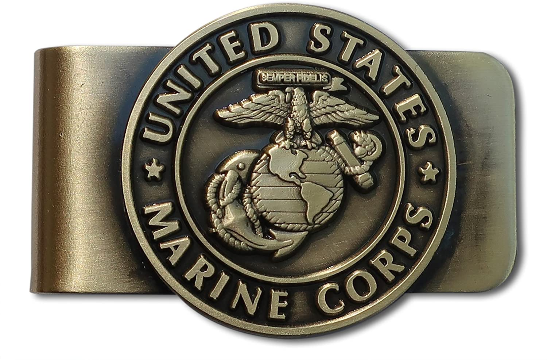 FREE SHIP/' MILITARY USMC MARINE CORPS STAINLESS STEEL MONEY CLIP SEMPER FI