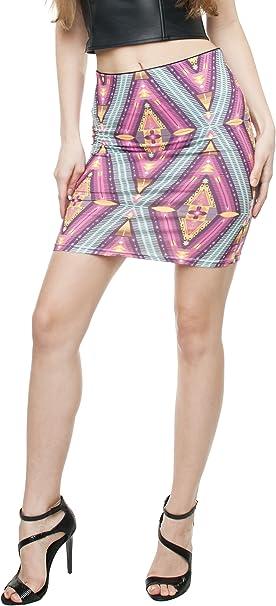 12 Triangles Fringoo Womens Mini Skirt Dress Slim High Waist Dress Stretch Skirt Printed One Size Fits UK 8//10