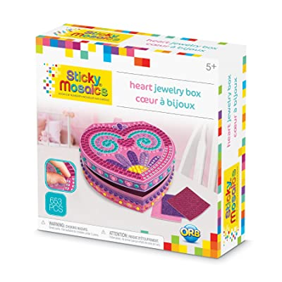 """ORB The Factory Sticky Mosaics Heart Jewelry Box Arts & Crafts, Pink/Purple/Teal, 8.26"""" x 2.64"""" x 7.67"""": Toys & Games"""