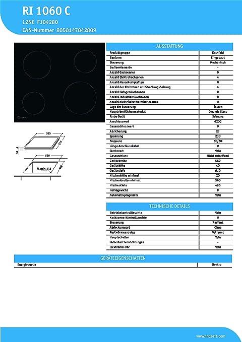 Indesit Ri 1060 C Vidrio y cerámica quemador/eléctrico ...
