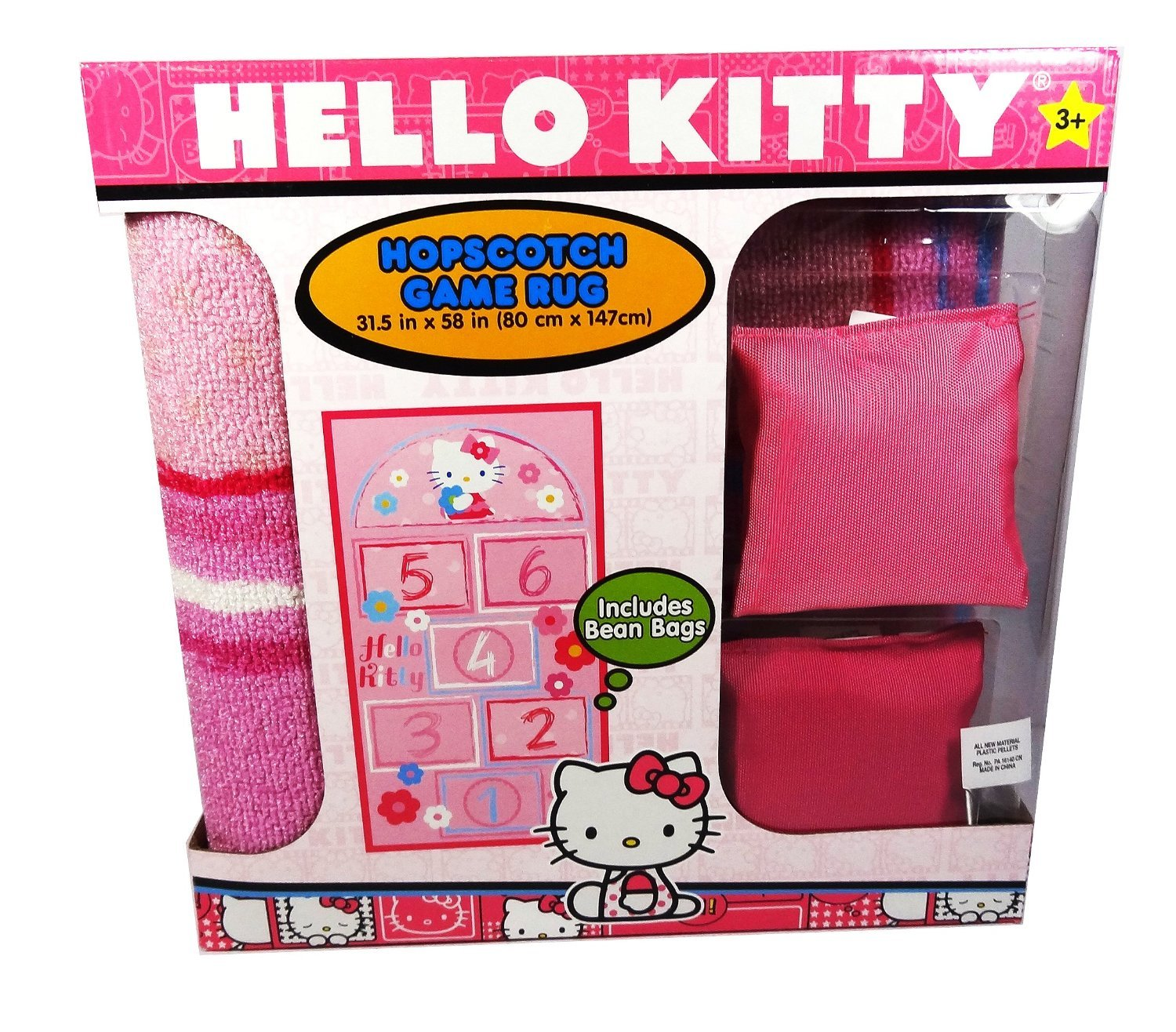 Hello Kitty Hopscotch Game Rug Includes Bean Bags, 31.5'' x 58''